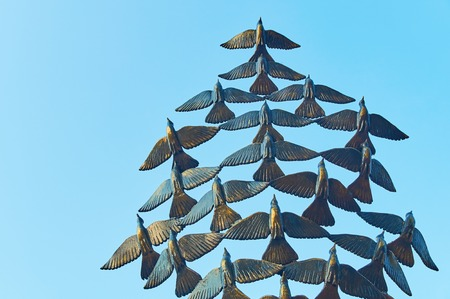 Birds monument on the castle hill in Soave, Italy