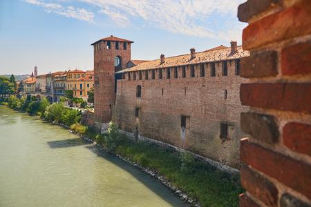 View of the Old Castle or Castelvecchio from Castel Vecchio Scaliger Bridge over Adige River