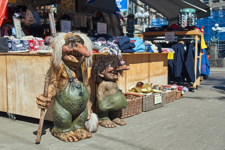 Traditional Norwegian troll figure on the street in front of a souvenir gift shop in Oslo, Norway. Editorial
