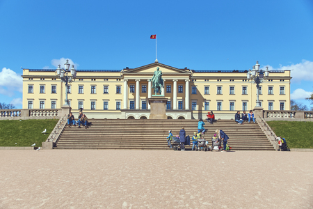 Tourists and local people in front of Slottet, the Norwegian Royal Palace Editorial
