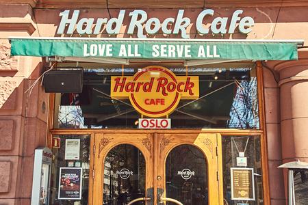 Entrance of Hard Rock cafe at daytime