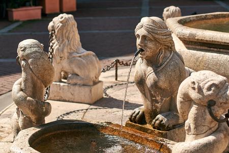 Old Contarini fountain on Piazza Vecchia square in Bergamo, Italy