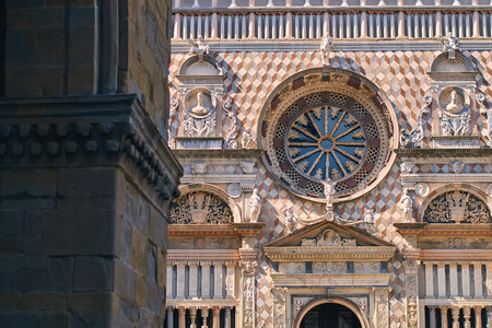 Architecture details of the Basilica of Santa Maria Maggiore built in 1137 in Romanesque style