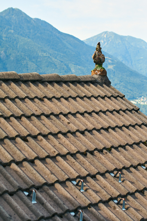 Typical roof of a traditional rural Swiss house Stock Photo