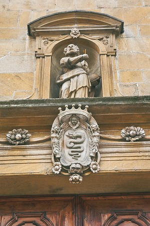 Entrance of Collegiate Church in Bellinzona, Switzerland