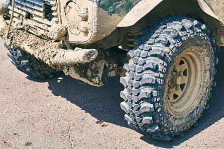 Dirty brutal off-road SUV vehicle Stock Photo