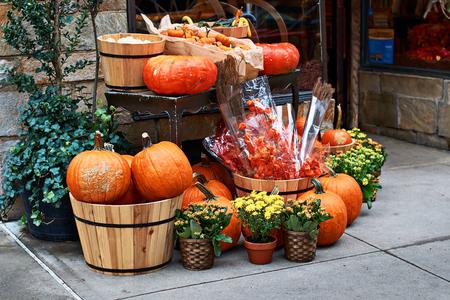 Arreglo de Halloween frente a la tienda de la calle en Nueva York con calabazas naranjas, physalis alkekengi o cereza de vejiga o linternas chinas, mamás amarillas y otras decoraciones