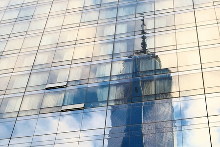 Reflections and skyscrapers in NYC, New York City background