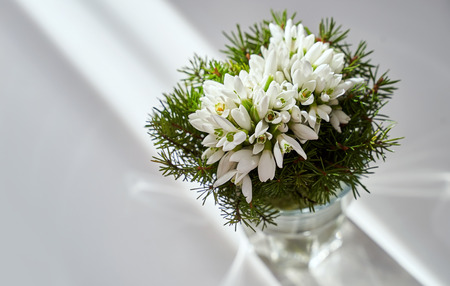 Spring holiday snowdrop flower bouquet in a glass vase at home