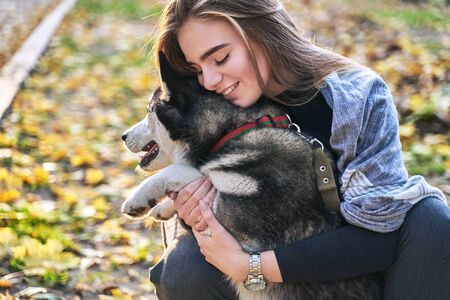 Young beautiful girl playing with her cute husky dog pet in autumn park covered with red and yellow fallen leaves Stok Fotoğraf - 131772912