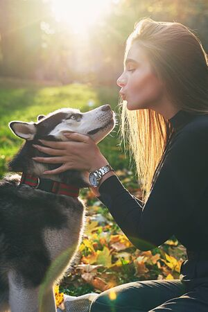 Young beautiful girl playing with her cute husky dog pet in autumn park covered with red and yellow fallen leaves Stok Fotoğraf - 131772528