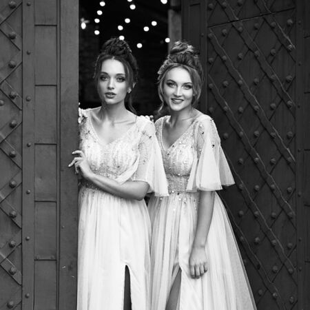 Beautiful retro styled bridesmaids ladies in gorgeous elegant stylish light grey silver floor length dresses in old beautiful European city welcome greeting guests at the gate. Black and white.