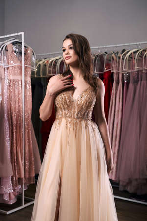 Young beautiful brunette girl wearing a full-length beige yellow champaign chiffon slit prom ball gown decorated with golden sparkles and sequins. Dress hire service with many dresses on background. 免版税图像 - 162446481
