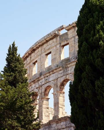 Picturesque ancient Roman amphitheater arena ruins view