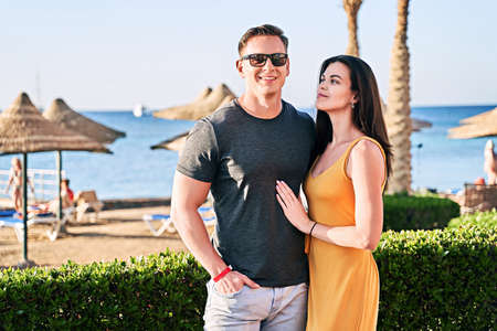 Beautiful caucasian couple on sea vacation in a tropical resort