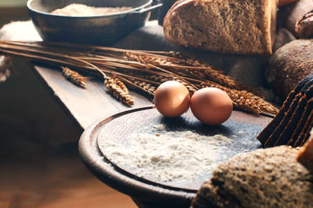 Eggs and other bread ingredients on the vintage table