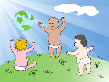 Happy global kids. And also includes EPS 8 Vector