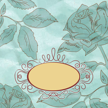 Vintage rose floral card (not auto-traced). EPS 8 Vector