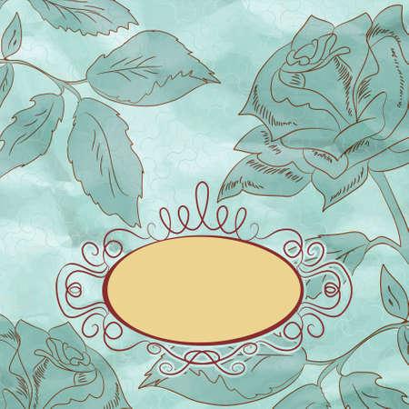 Vintage tarjeta rosa de flores (no auto-trazado). EPS 8