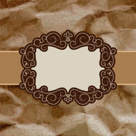 lattice frame: Old card design, brown vintage frame