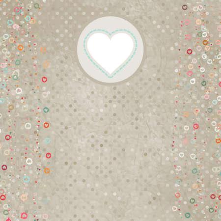 Elegant retro light card with hearts. Vector