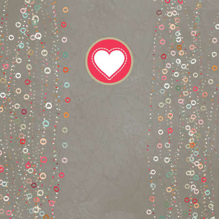 Vintage gray card with hearts.  Vector