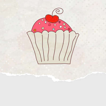 Retro card with cupcake. Stock Vector - 11833690