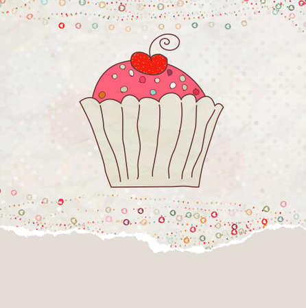 Retro valentine card with cupcake.  Vector