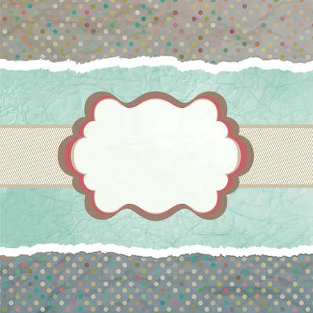 vintage card with polka dots.  Illustration