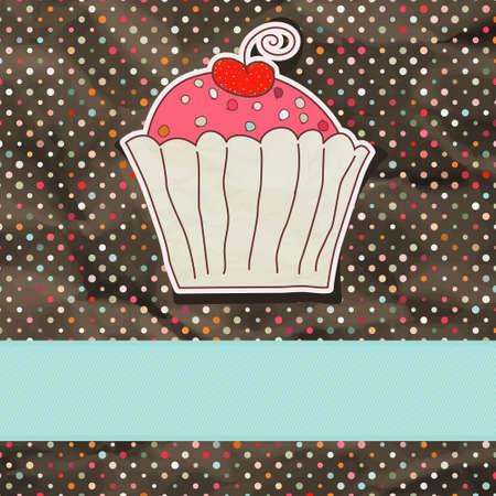 Retro card with cupcake. EPS 8 Vector