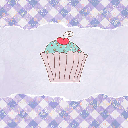 Retro card with cupcake. EPS 8 Vector