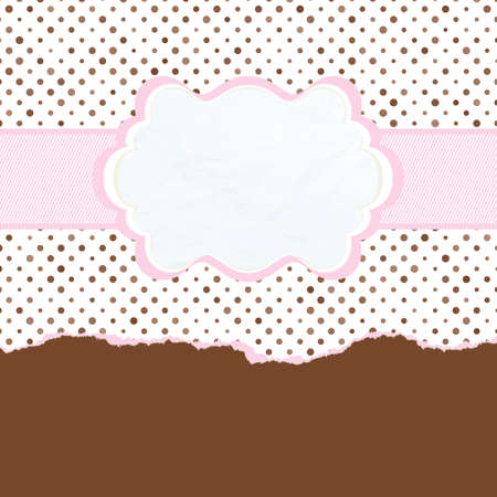 Brown and pink vintage card template. EPS 8 Vector