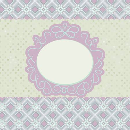 Old card design, orange vintage frame. EPS 8 Vector