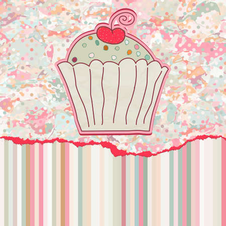 Retro card with cupcake. EPS 8 Stock Vector - 12494647