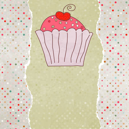 Retro card with cupcake. EPS 8 Stock Vector - 12494665