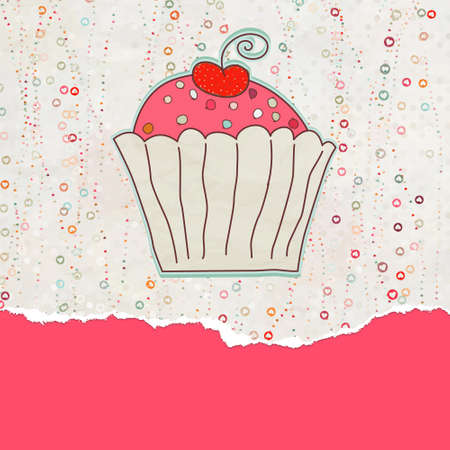 Retro valentine card with cupcake. EPS 8 Vector