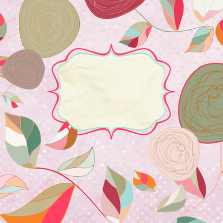 Vintage Floral Card with rose. EPS 8