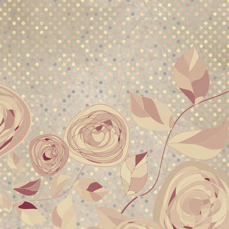 Romantic floral with vintage roses   Vector