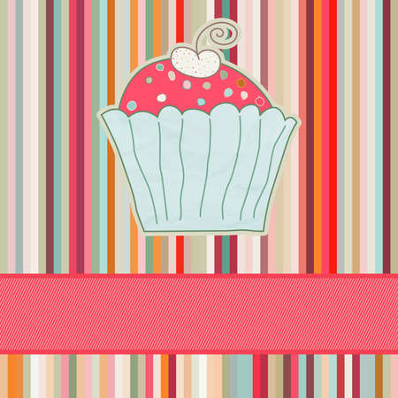 Retro card with cupcake   Vector