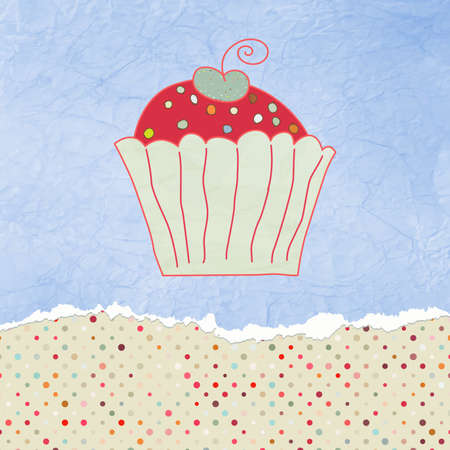 Retro valentine card with cupcake  Vector