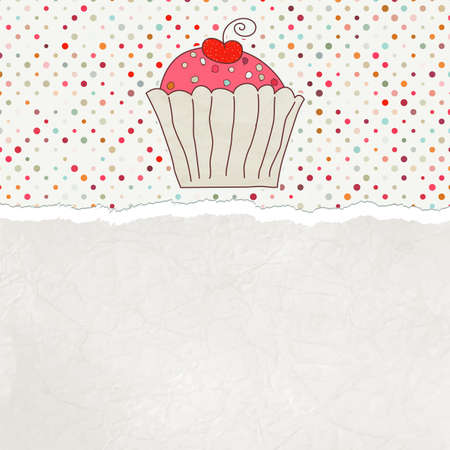 Retro card with cupcake   Stock Vector - 12856068