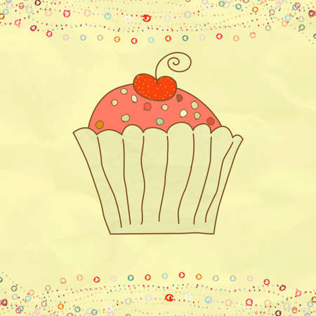 Retro valentine card with cupcake