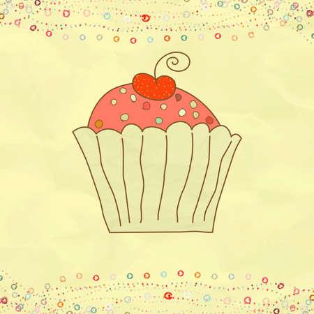 Retro valentinskarte mit Cupcake Standard-Bild - 12856106