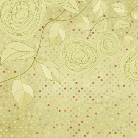 Vintage rose floral card  not auto-traced   Vector