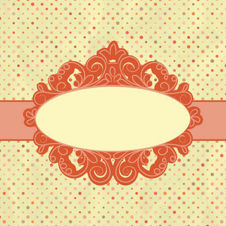 Vintage polka dot card with lace Vector