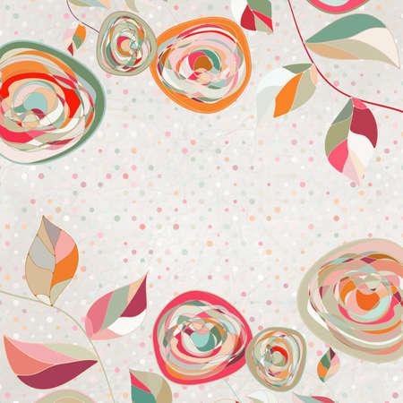 Orígenes florales con rosas de época Ilustración de vector