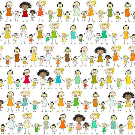 nationalities: Girls of different nationalities keep hands