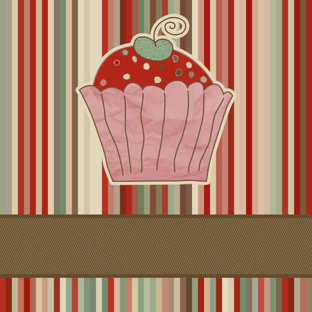 muffin: Retro card with cupcake