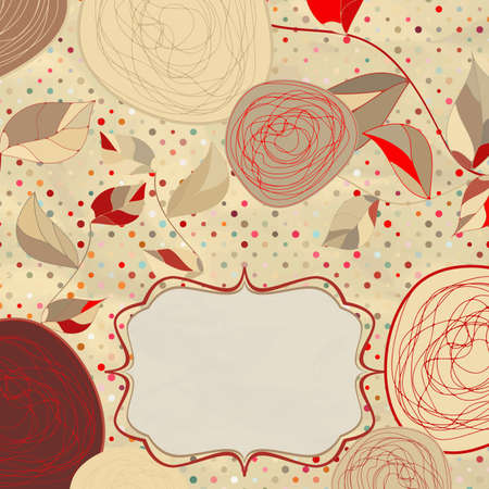 Vintage rose floral card  not auto-traced illustration Vector