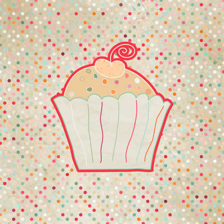 Vintage card with cupcake Vector